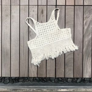 Zara Trafaluc | 100% Cream Crocheted Crop Top